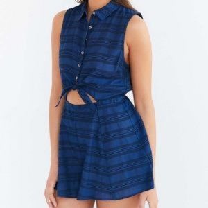 Urban Outfitters Blue Tie Front Romper